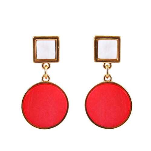 Art Deco Design Earrings Coral