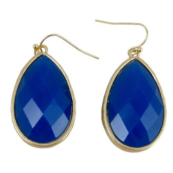 Dangle Earrings Double Sided Aqua Marine and Dark Blue