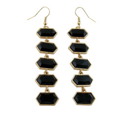 Hexagon Long Earrings Black