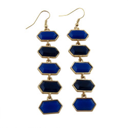 Hexagon Earrings Two Tone Blue