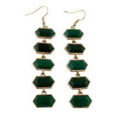 Hexagon Earrings Two Tone Emerald Green