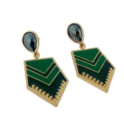 Chevron Earrings Two Toned Green