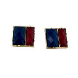 Square Deal Earrings Blue and Red