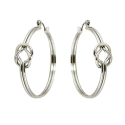 Love Knot Hoop Earrings Silver