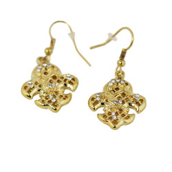 Fleur De Lis Earrings with Crystals Gold