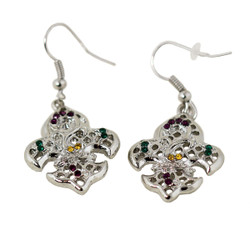 Fleur De Lis Earrings with Crystals Silver