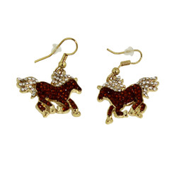 Crystal Horse Dangling Earrings Brown and Gold