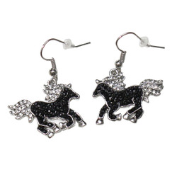 Crystal Horse Dangling Earrings Black and Silver