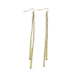 Long Dangling Chain Earrings Gold