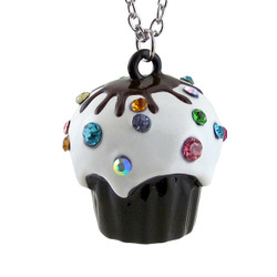 Cupcake Long Chain Necklace Large Pendant Brown