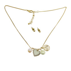 Heart Charm Necklace Earring Set Ivory Jeweled