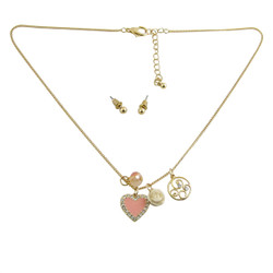 Heart Charm Necklace Earring Set Baby Pink Jeweled