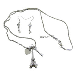 Eiffel Tower Necklace Earrings Set Silver Tone