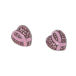 Pink Ribbon Crystal Heart Earrings