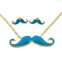 Gold Tone Mustashe Pendent Earrings Set Blue