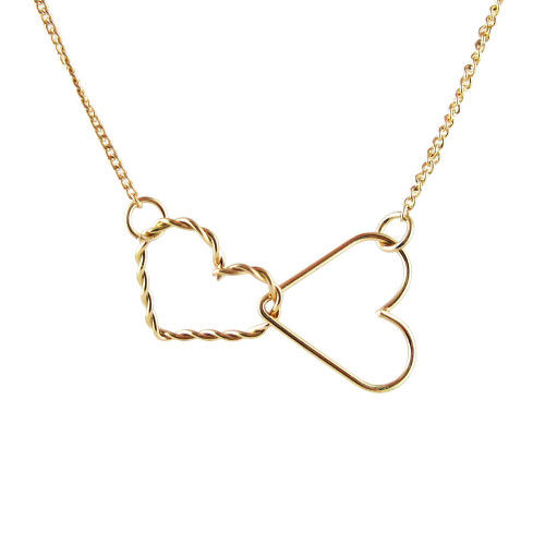 Double Heart Necklace Gold