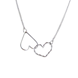 Double Heart Necklace Silver