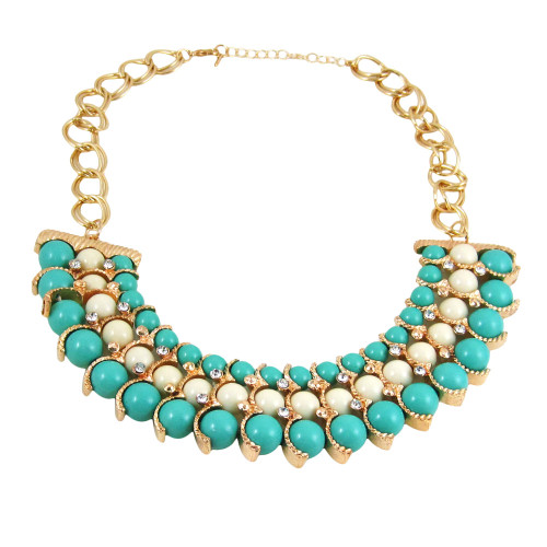 Egyptian Inspired Beaded Necklace Turquoise