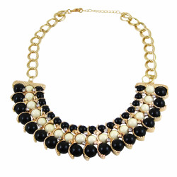 Egyptian Inspired Beaded necklace Black