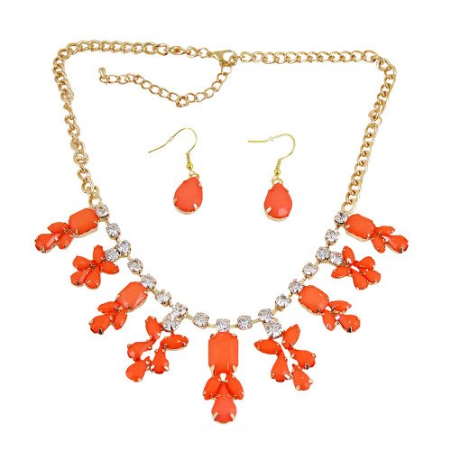 Chandelier Necklace Earrings Set Coral