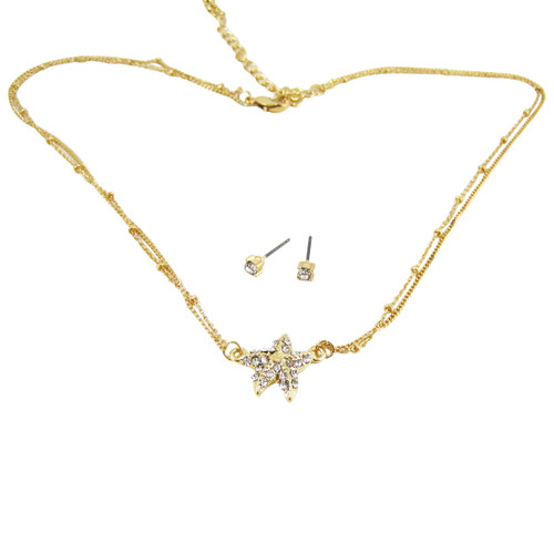 Starfish Double Chain Necklace Earrings Set Crystals