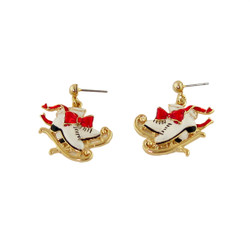 Classic Ice Skates with Flowing Red Ribbon Earrings