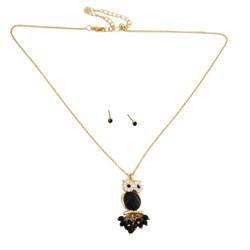 Owl Necklace Earrings Set Black