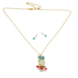 Owl Necklace Earrings Set Blue