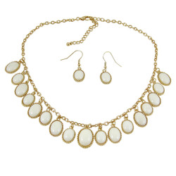 Elegant Oval Statement Necklace Earrings Set Pearl White