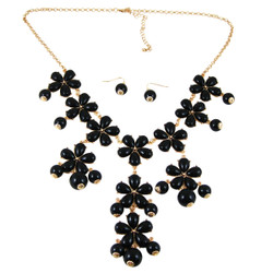 Plunging Petals Necklace Earrings Set Black