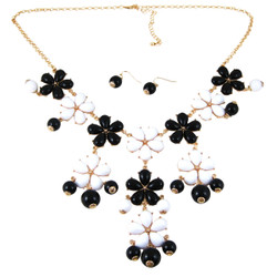 Plunging Petals Necklace Earrings Set Black White
