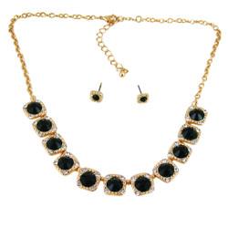Majestic Jewels Crystal Necklace Earrings Set Green