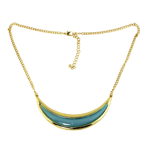 Crescent Moon Necklace Ice Blue