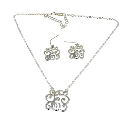 Old Victorian Initial E Necklace and Earrings Set Silver