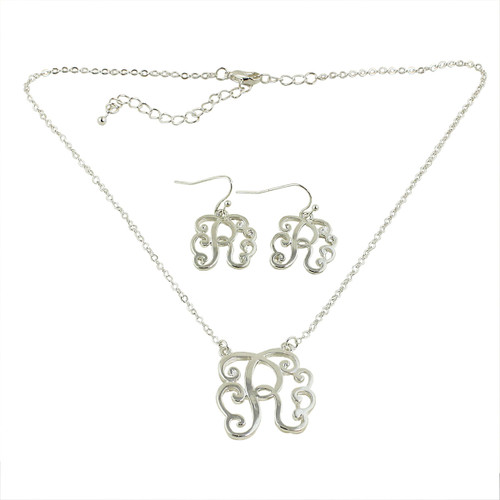Old Victorian Initial R Necklace and Earrings Set Silver