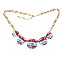 Southwestern Inspired Pattern Necklace Turquoise, Pink and White