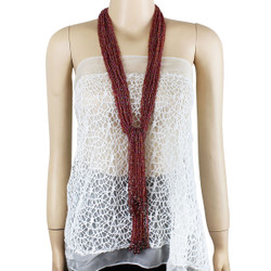 Long Beaded Necklace Opeline Red