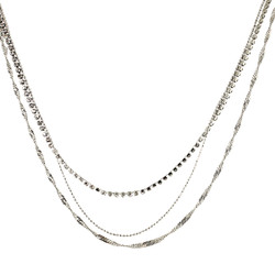 Long Triple Strand of Chains Necklace Silver