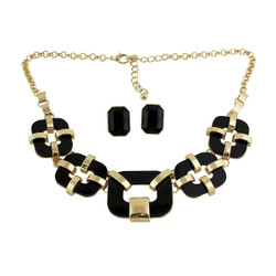 Cubic Classical Necklace and Earrings Set Gold