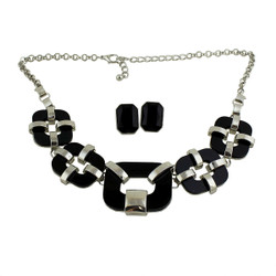 Cubic Classical Necklace and Earrings Set Silver