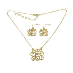 Old Victorian Initial E Necklace and Earrings Set Gold