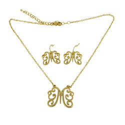 Old Victorian Initial M Necklace and Earrings Set Gold