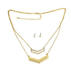 Double Layered Crystal Chevron Necklace and Earrings Gold