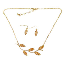 Lovely Leaves Necklace and Earrings Set Peach