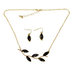 Lovely Leaves Necklace and Earrings Set Deep Purple