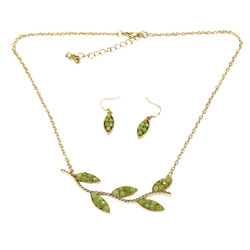 Lovely Leaves Necklace and Earrings Set Sage Green