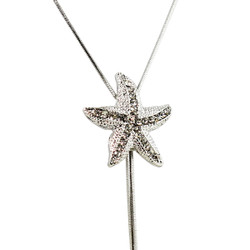 Long Adjustable Plunging Starfish Necklace Silver