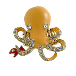 Octopus Cocktail Ring Stretch Band Orange