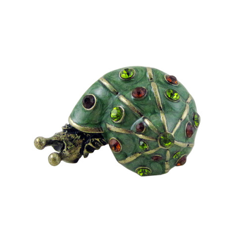 Bedazzled Snail Stretchy Ring Oversize Green