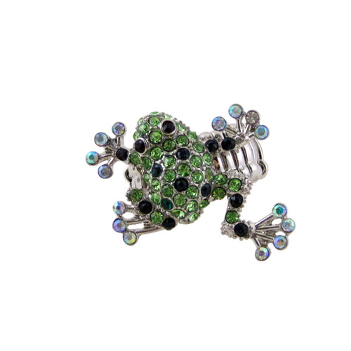 Bedazzled Frog Stretchy Ring Oversize Light Green